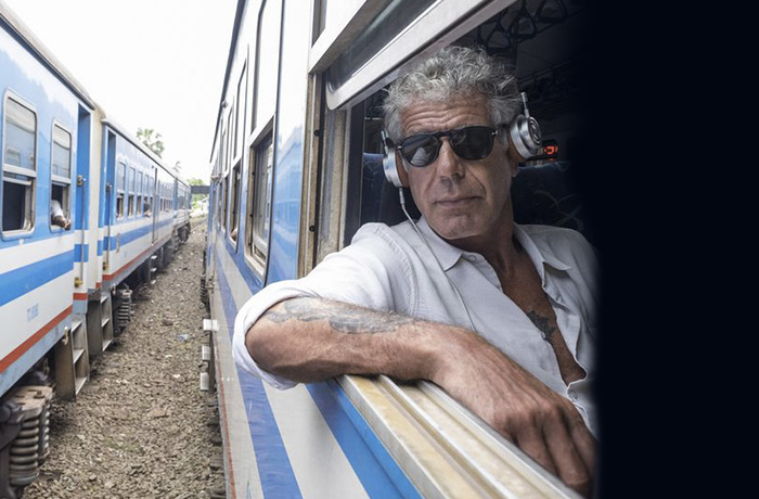 Anthony Bourdain on an Indian train.