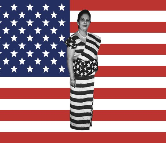 american flag sari, sri lankan woman